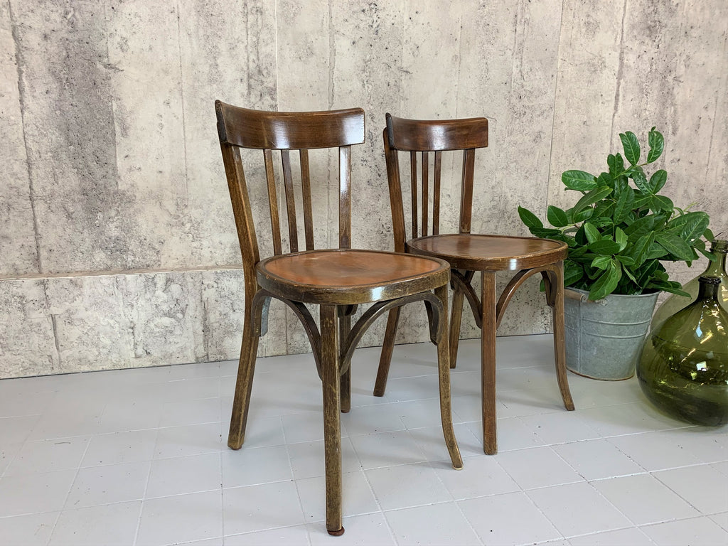 A Pair of Classic French Wooden Bistro Chairs