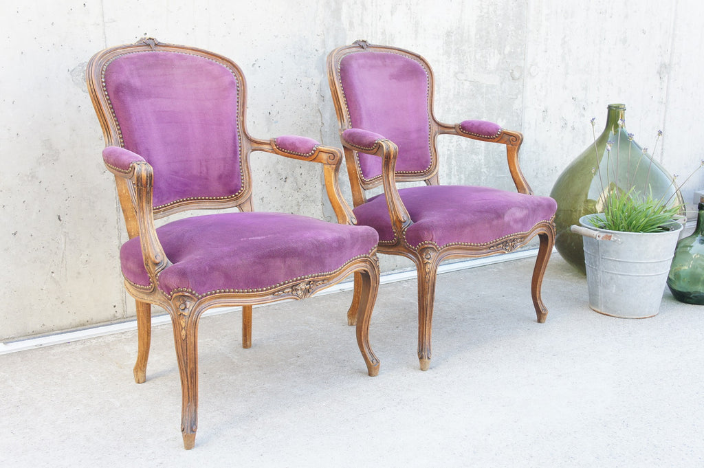 Pair Decorative Louis XV Carved Style Armchairs Chairs