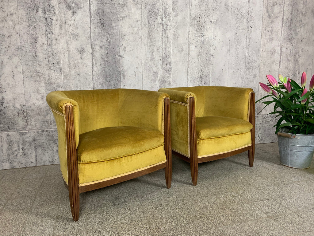 Pair of 1930's Art Deco Wooden Framed Gold Velvet Armchairs