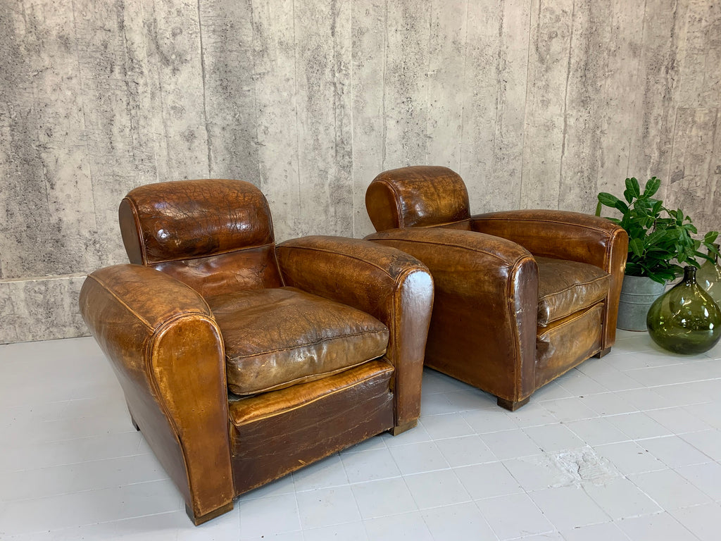 Pair Large Worn Leather Club Chairs