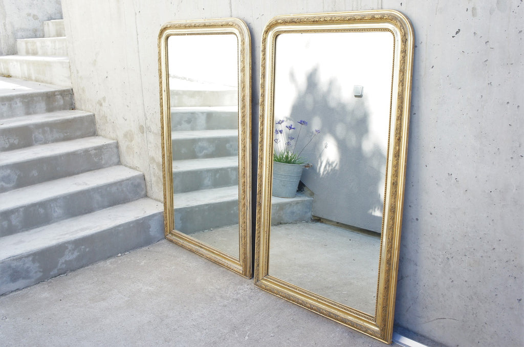 Pair of Large Louis Philippe Gold Leaf, Mercury Glass Mirrors