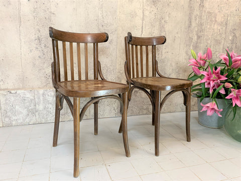 A Pair of Classic Low Backed French Bentwood Bistro Chairs