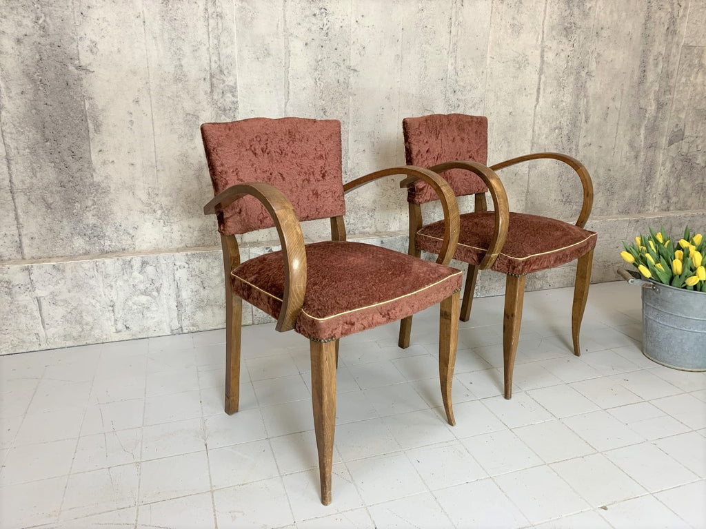 Pair 1930 Art Deco Moustache Back Bridge Chairs with Original Crushed Velvet Upholstery