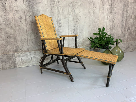 1900's Wicker Chair with Detachable Ottoman Chaise Longue
