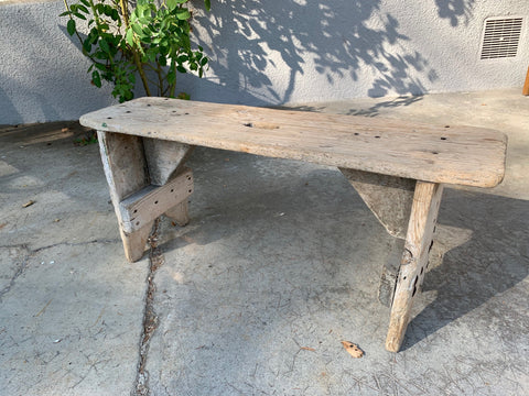 Small Rustic Pine Wooden Bench