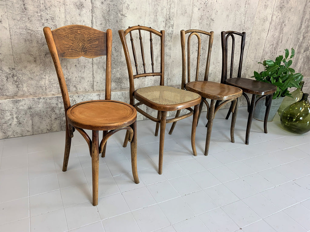 Set of Four Individual Bentwood French Bistro Dining Chairs