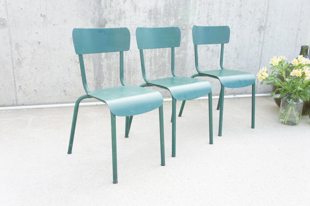 Set of 3 Green Stacking Metal Chairs