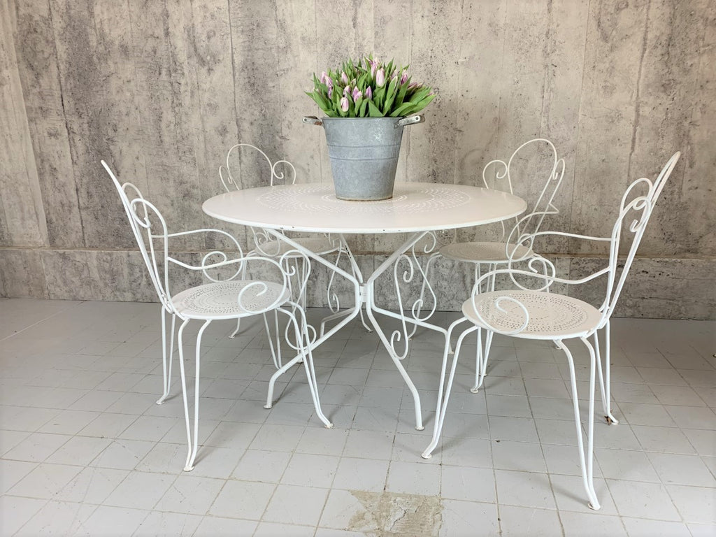 Set of 4 White Metal Garden Chairs and Circular Table Measuring 117cm Across