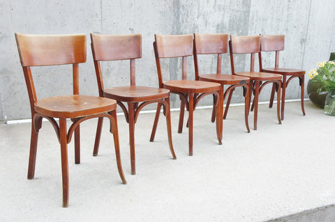 Set of Six French Fischel Bentwood Bistro Chairs
