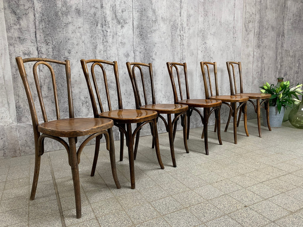 Set of Six Jacob & Josef Kohn Bentwood Bistro Chairs