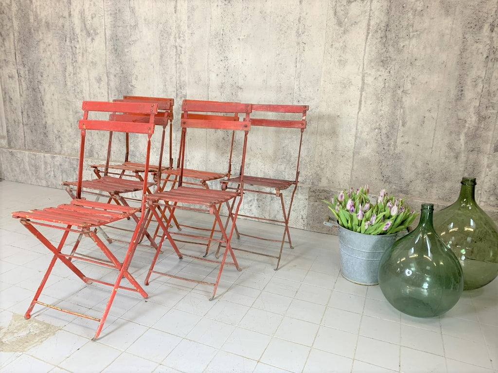 Set of 6 Red Folding Bistro Garden Chairs
