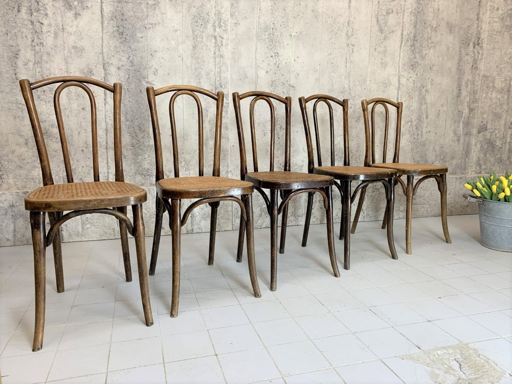 Set of Five Traditional French Cane Bentwood Bistro Chairs