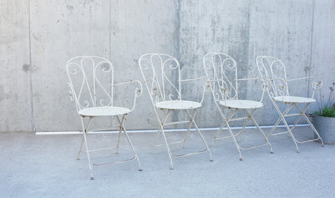 1930's set of 4 Folding White Metal Garden Chairs