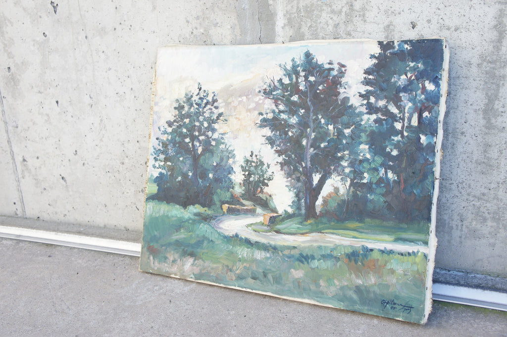 'Lane over Bridge' Landscape Oil Painting Signed
