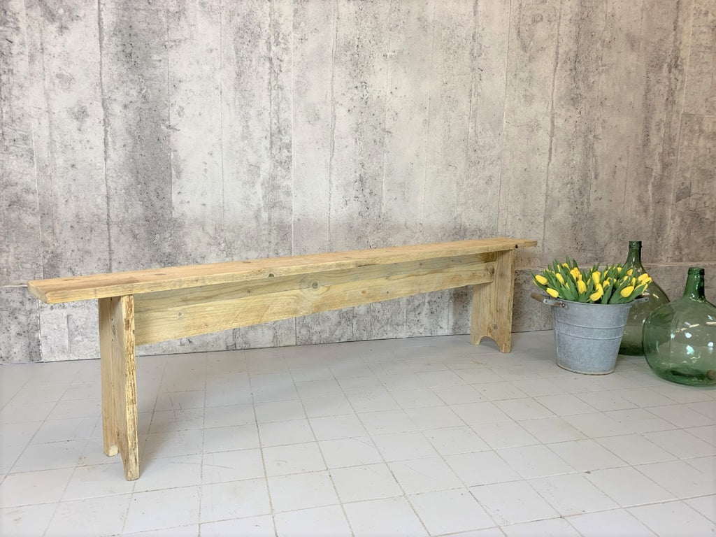Simple Rustic French Pine Wooden Bench