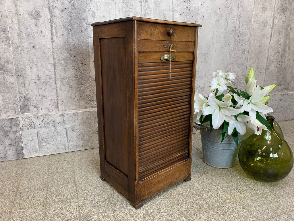 Small Walnut Wood Tambour Filing Cabinet Circa Early 1900's