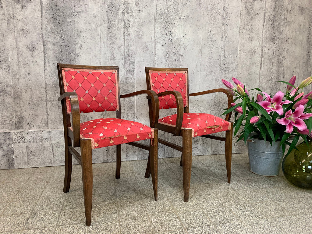 Pair Mid Century Red Bridge Chairs to Reupholster