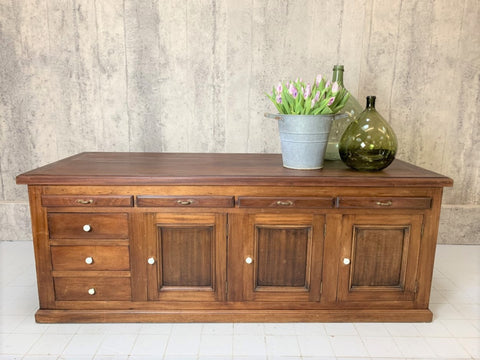 1800's Tailor's Walnut Shop Counter Sideboard Drawers Cupboard