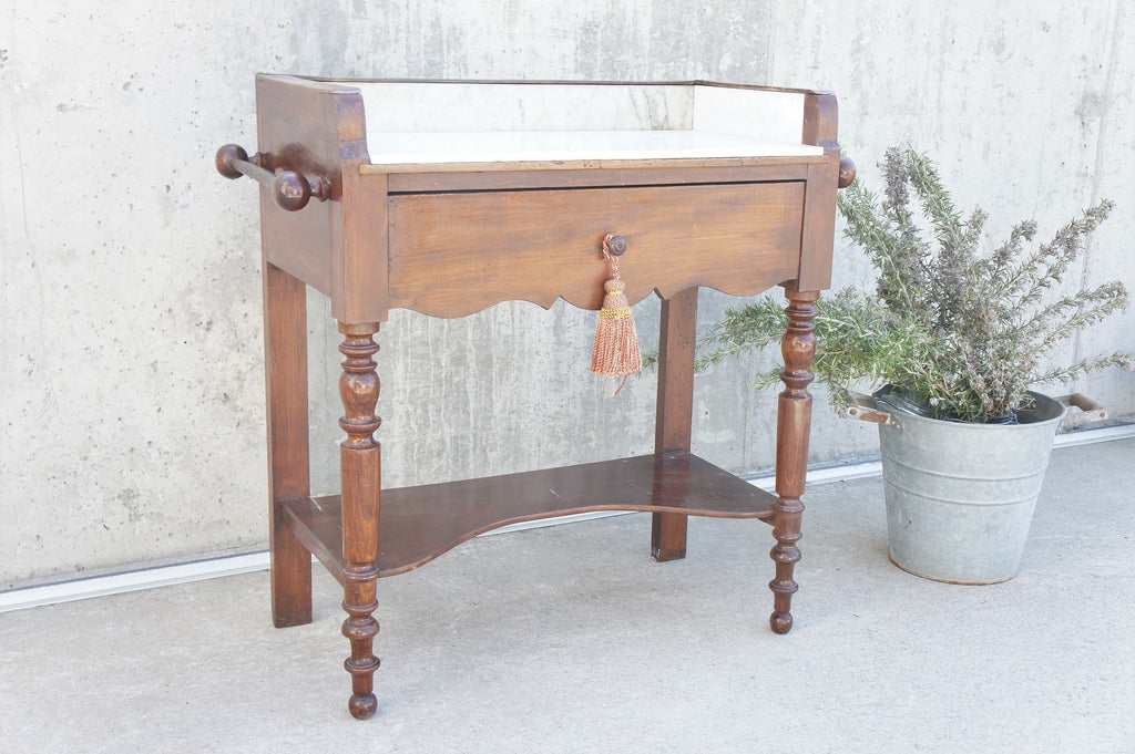 1910 French Marble Wooden Wash Stand