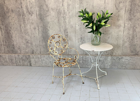 White Metal Painted Garden Table and Chair