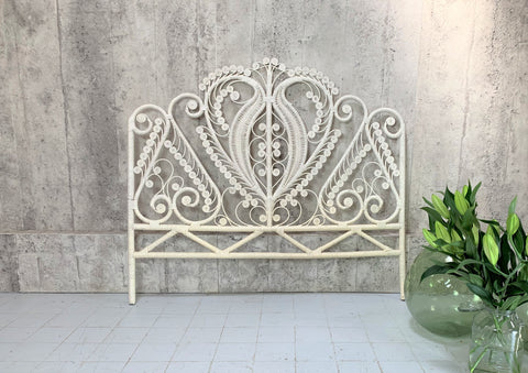 136cm Wide Mid Century Wicker Headboard