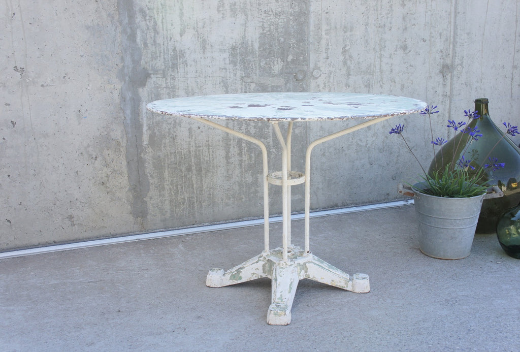 Art Deco White Metal Garden Table Layers of Original Paint