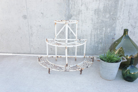 Florist's White Semicircular Tiered Display Frame / Planter
