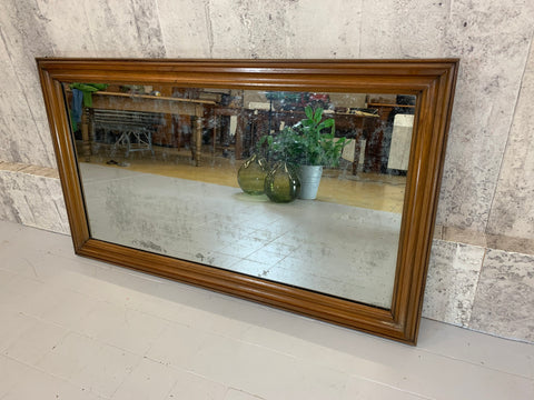 Early 19th Century Wood Framed Mercury Glass Portrait or Landscape French Bistro Mirror