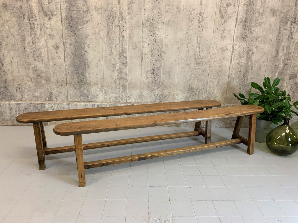 Pair of 199cm Long Oak Benches