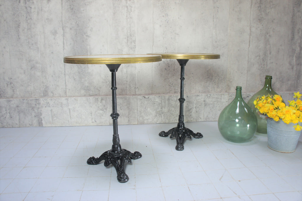 Pair of French Circular Cast Iron, Brass Band Pedestal Bistro Table