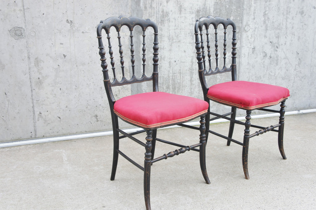 Ebonised Pair of Napoleon III Hand Painted Bedroom Chairs to reupholster