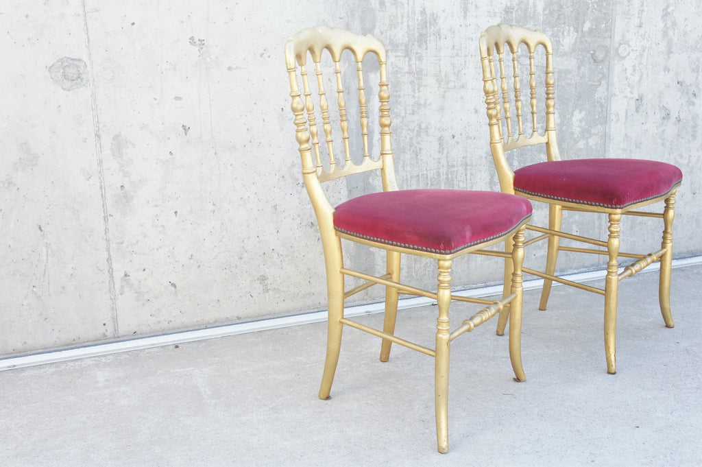 Pair Napoleon III Style Gold Bedroom Chair to Reupholster