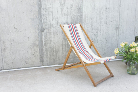 1950's Red White and Blue Striped Deck Chair Garden Chair