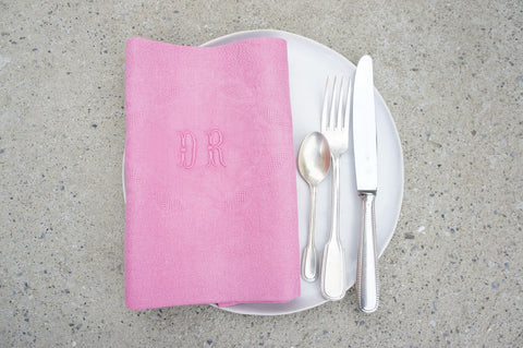 Set of 12 Monogrammed 'DM' Hot Pink Vintage Serviettes