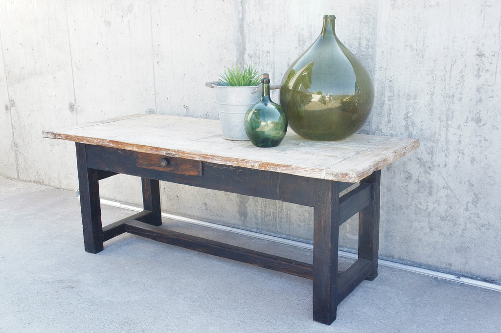 Picture of: Rustic Black Legged Work Bench Console Table Dining Table Vintage French