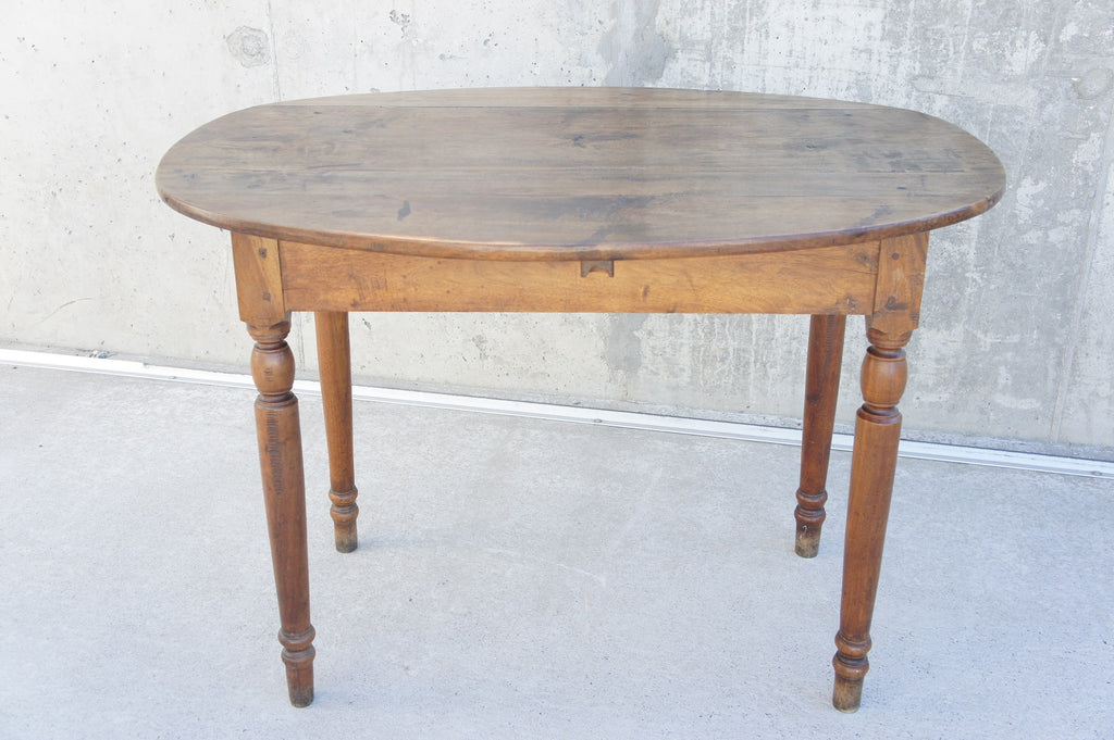 Walnut Wood Oval Folding Bistro Side Table