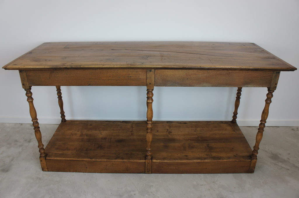 19th Century Walnut Wood Draper's Table / Shop Counter / Console Table