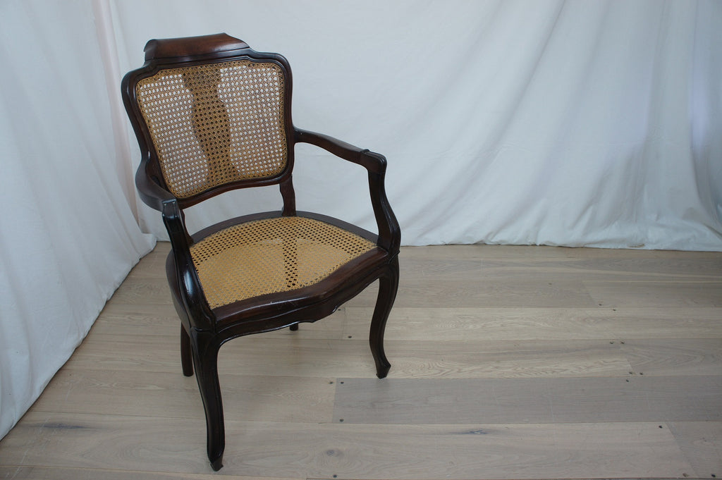 Mahogany and Cane Hairdressers Armchair with Adjustable Headrest 19th Century