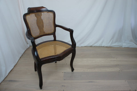 19th Century Mahogany and Cane Hairdressers Armchair with Adjustable Headrest