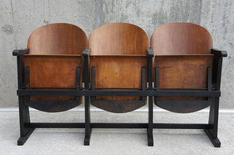 Bank of 3 Mid Century Cinema Seats