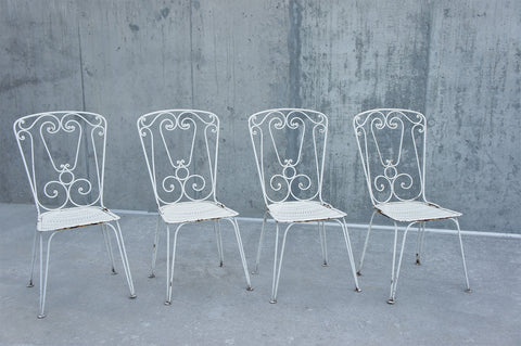 1960's set of 4 Wrought Iron Garden Chairs