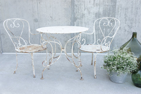 19th Century Pair Wrought Iron Garden Chairs and Circular Table
