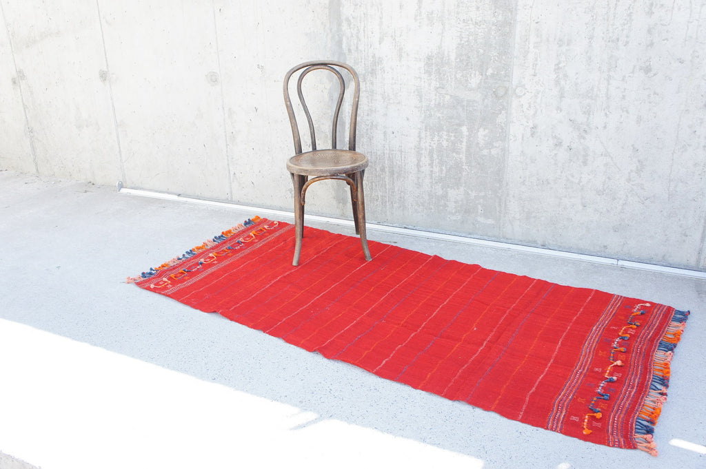 Handmade Woven Red Throw