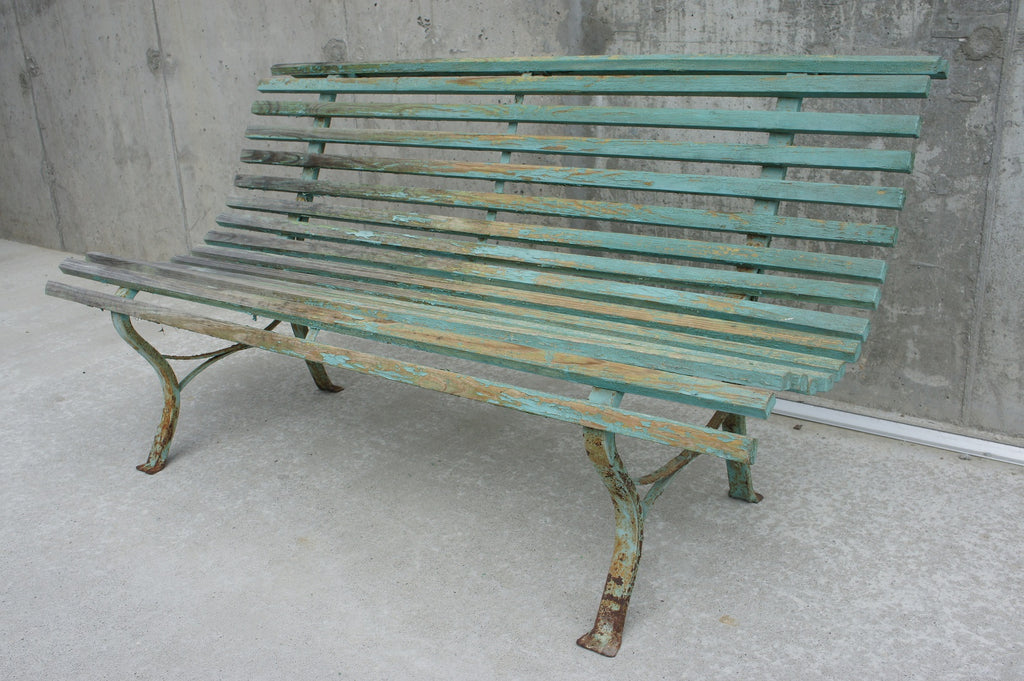 Small Cast Iron and Green Wooden Garden Bench
