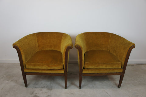 1920's Pair Gold Armchairs