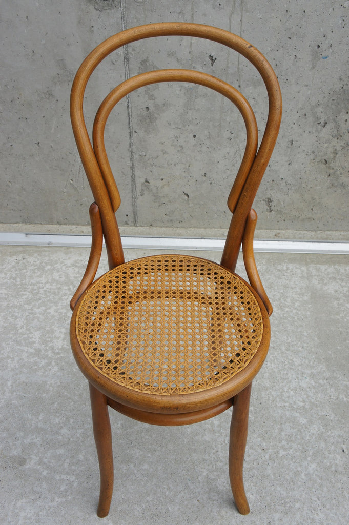 Pair Of Thonet Style Bentwood And Cane Bistro Chairs