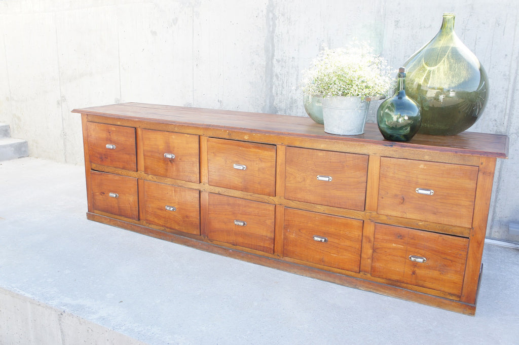 Mid Century Pharmacy Counter Sideboard