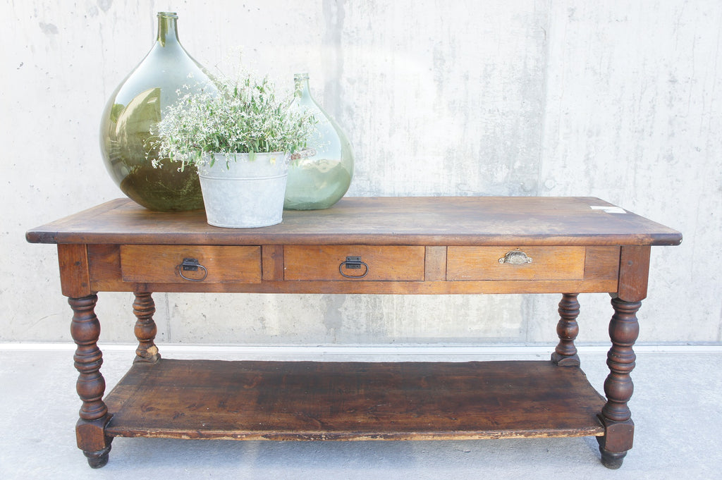 1900's Walnut Wood Shop Counter / Console Table / Sideboard