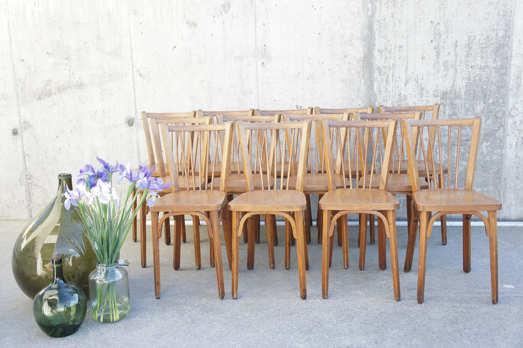 Set of 13 Wooden Model 82 Baumann Bistro Chairs