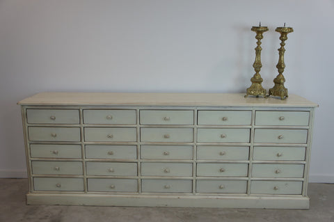 1930's Chestnut Wood Painted White Shop Counter Sideboard